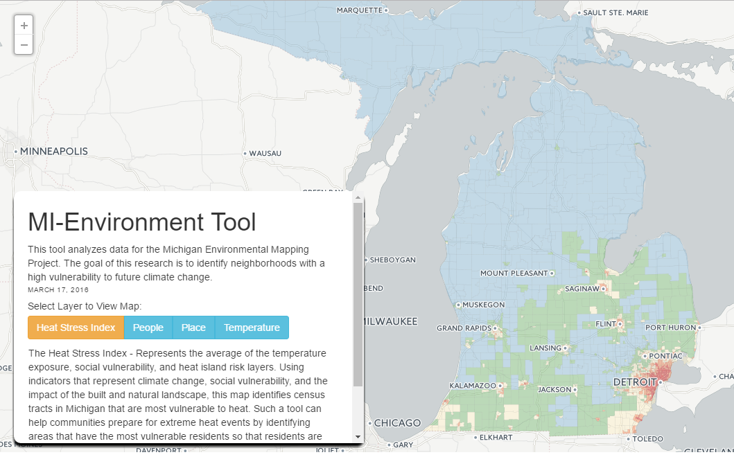 Screenshot of the GIS for Community Health tool
