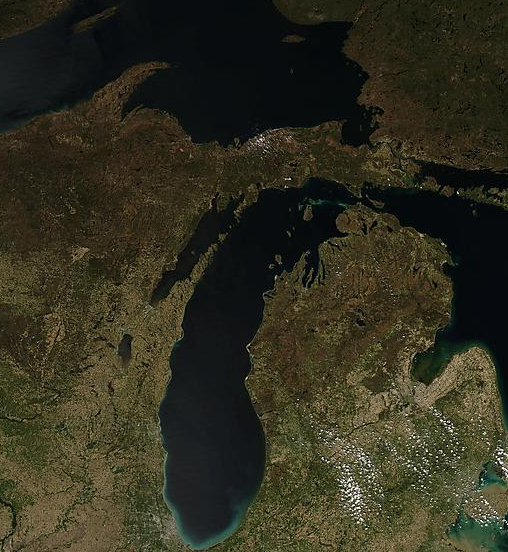 Satellite image of Michigan and part of Wisconsin